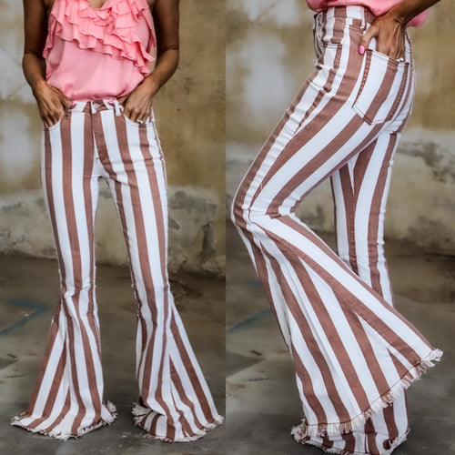 Rustic Striped Denim Bell Bottoms - The Lace Cactus