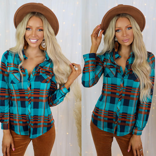 Teal + Navy Plaid Button-Up Top - The Lace Cactus