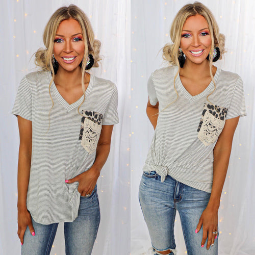 Heathered Gray Striped Double Pocket Tee - The Lace Cactus