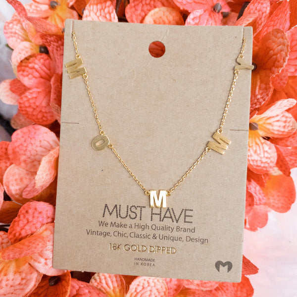 "Gold ""Mommy"" Necklace - The Lace Cactus"