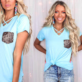 Light Blue Criss Cross Sequin Pocket Tee - The Lace Cactus
