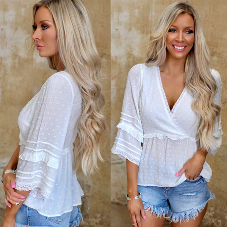 Beige + Black Plaid Crochet Swoop Back Top
