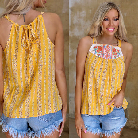 Bali Bright Tie-dye Lace-Up Top