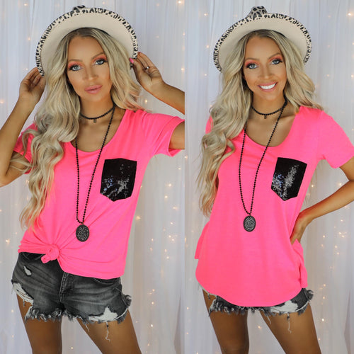 Hot Pink + Black Sequin Pocket Tee