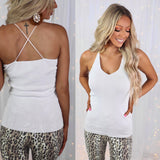 Wonderland White V-Neck Knit Tank Top - The Lace Cactus