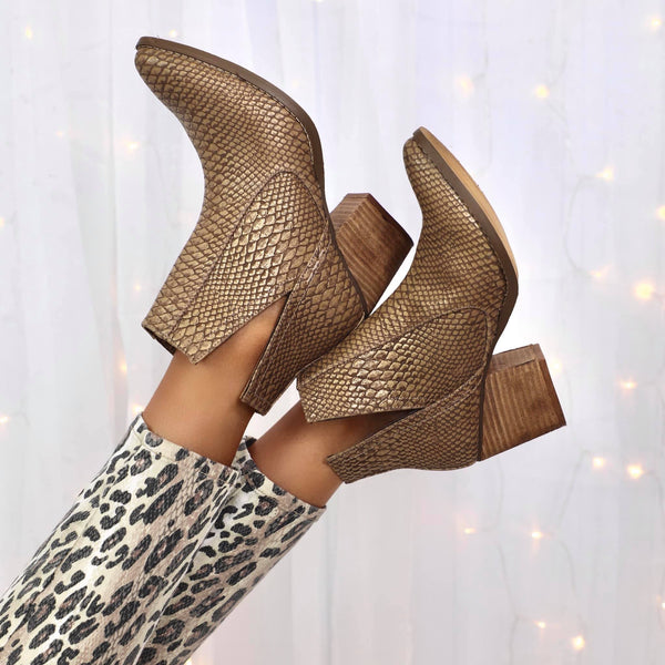 NR Gold Textured Ankle Booties - The Lace Cactus