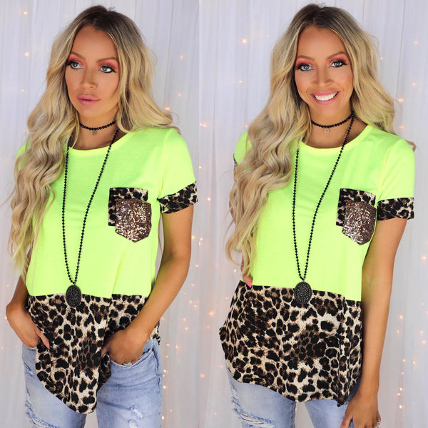 Neon Yellow + Leopard Double Pocket Tee - The Lace Cactus