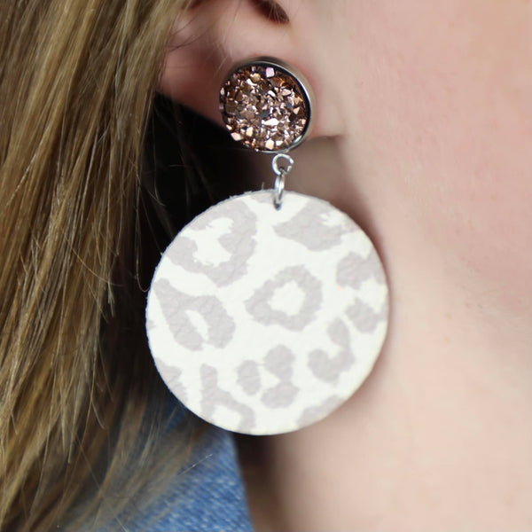 Nude Leopard Leather Earrings - The Lace Cactus