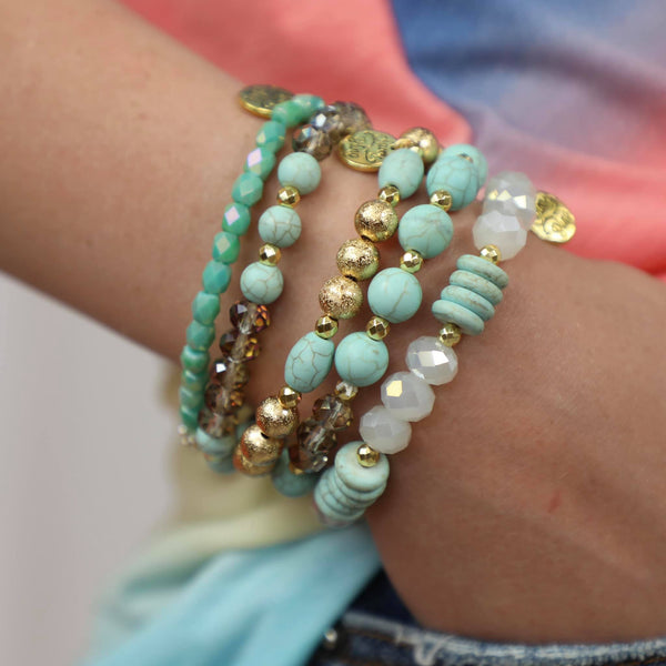 Mint +Gold Bracelet Stack - The Lace Cactus