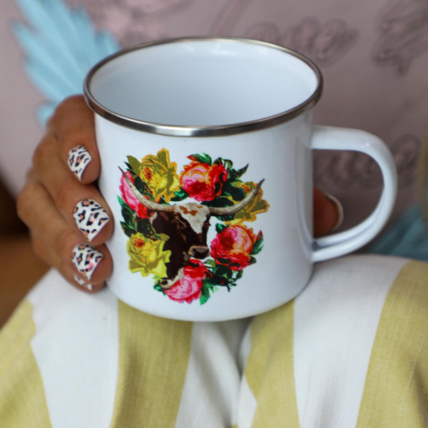 Floral+ Longhorn Coffee Cup - The Lace Cactus