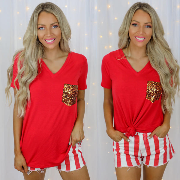 Ruby Red V-Neck Sequin Pocket Top - The Lace Cactus