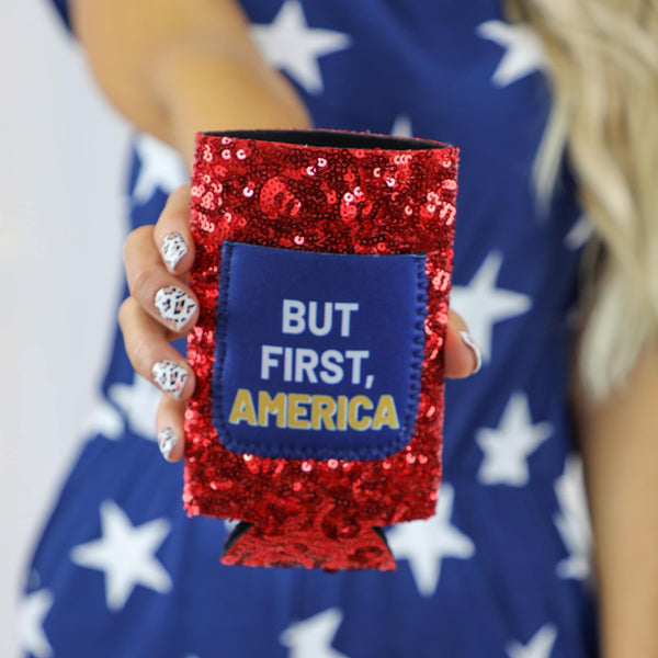 "Red Sequin ""America"" SLIM Can Cooler - The Lace Cactus"
