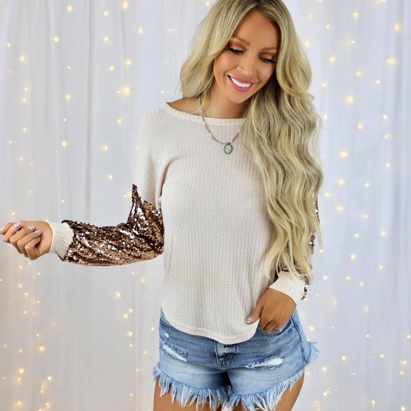Carla Cream Knit + Sequin Sleeve Top - The Lace Cactus
