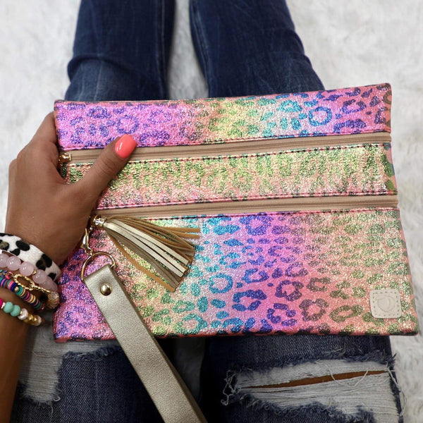 Rainbow Leopard Double Zipper Versi Bag - The Lace Cactus