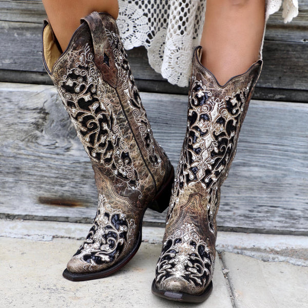 Corral Ashley Brown Floral & Black Sequin Inlay Boots - The Lace Cactus