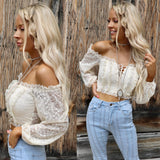 Charlene Cream, Lace + Off Shoulder Crop Top - The Lace Cactus