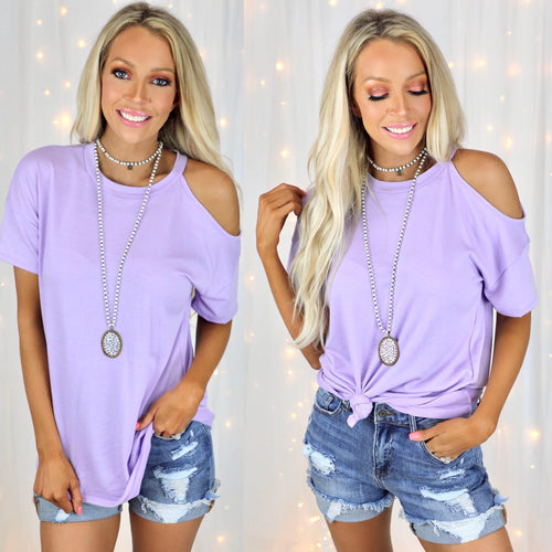 Letty Lavender One Cold Shoulder Top - The Lace Cactus