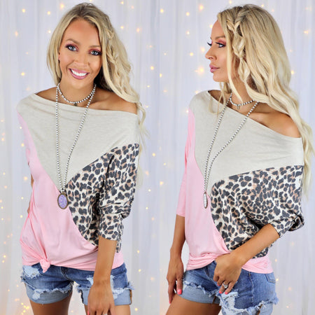 The Lucy Leopard Cold Shoulder Top