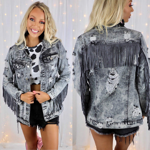 Come Together Charcoal Distressed+ Fringe Denim Jacket - The Lace Cactus