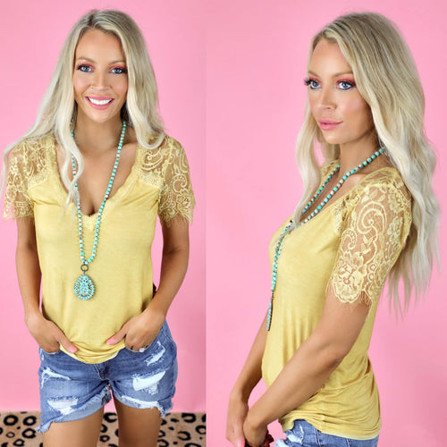 Ginkgo Yellow+ Lace Sleeve Top - The Lace Cactus