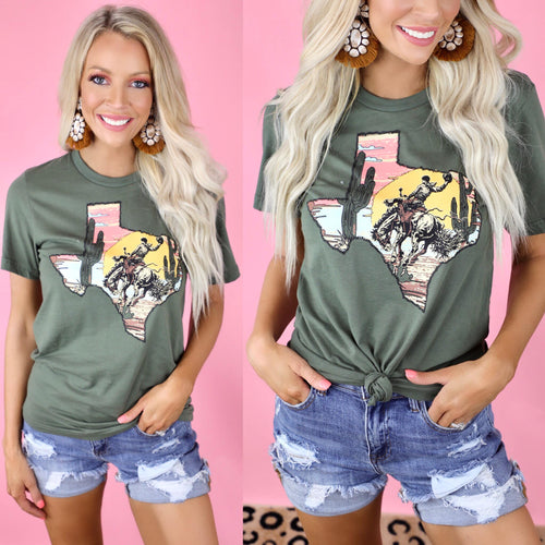 Olive Texas+ Cowboy Graphic Tee - The Lace Cactus