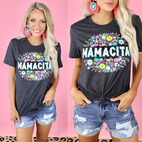 "Dark Grey + Heathered ""Mamacita"" Floral Graphic Tee - The Lace Cactus"