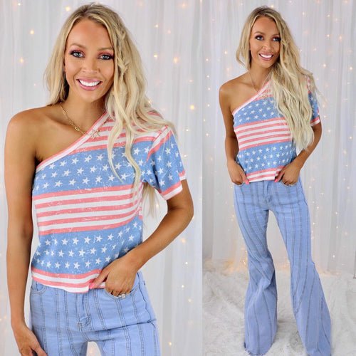 Vintage Stars & Stripes + One Shoulder Top