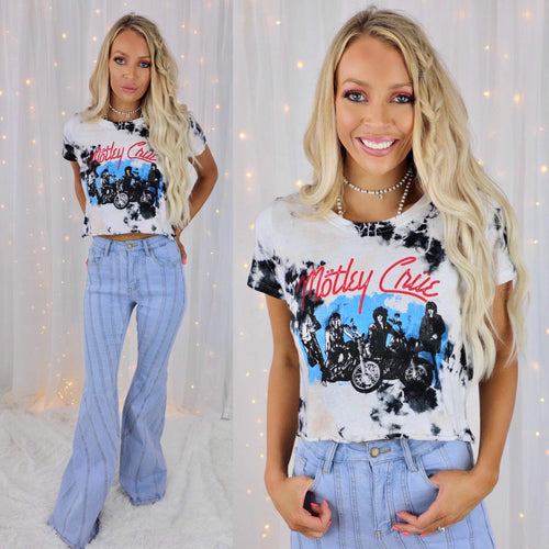 Tie-Dye  Motley Crue Cropped Graphic Tee
