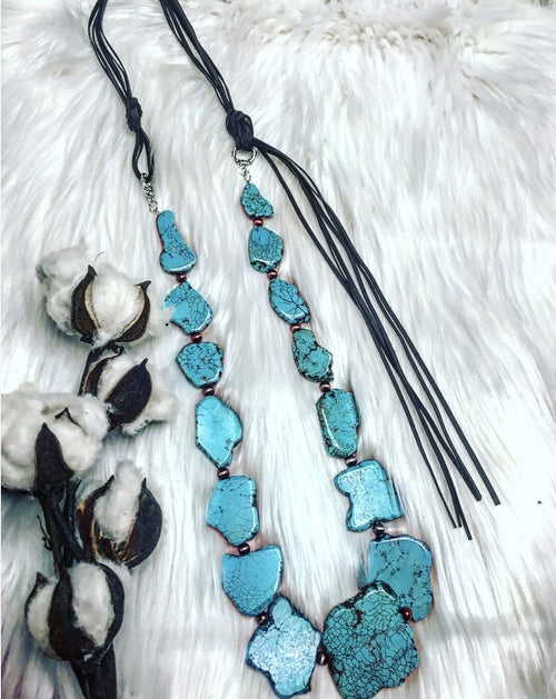 Montana Sky Turquoise Slab Necklace