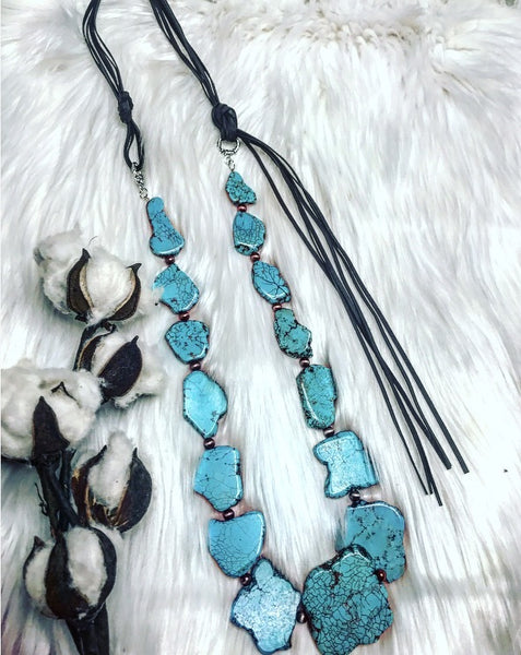 Montana Sky Turquoise Slab Necklace - The Lace Cactus