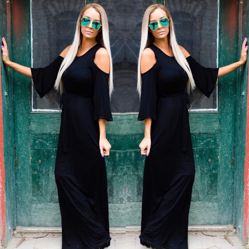 Burleson Black Cold Shoulder Dress