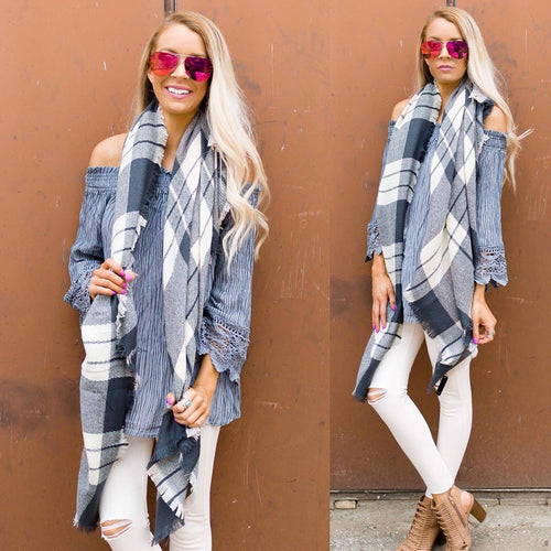Light Pink and Gray Scarf