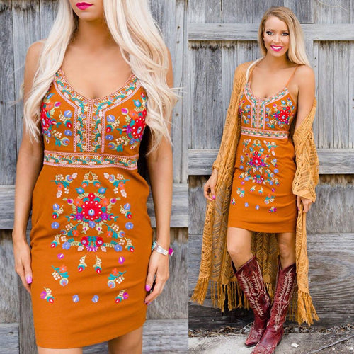 Emberglow Embroidered Dress