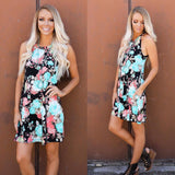 Everly Floral High Neck Dress