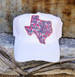 White and Pink Texas Cap
