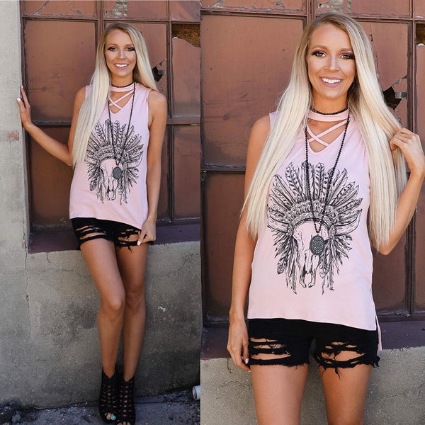 Pastel Pink Steer Headdress Choker Neck Tank
