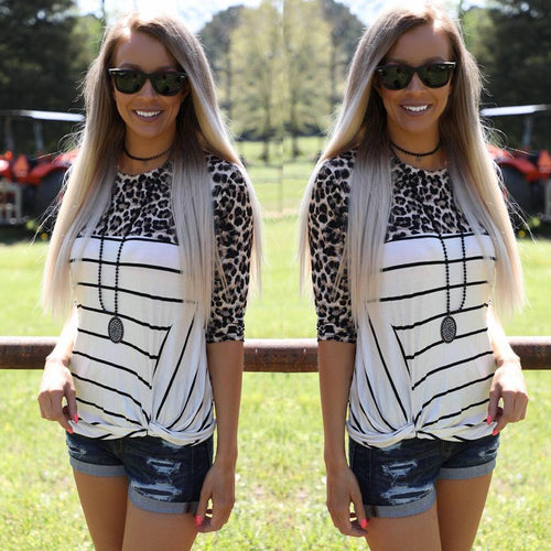 Leopard and Striped Knot Top