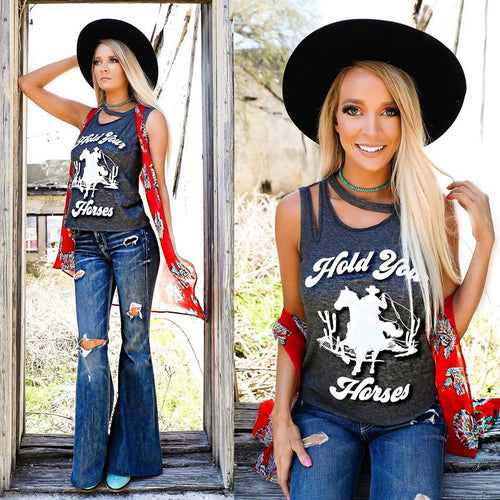 Hold Your Horses Tattered Tank