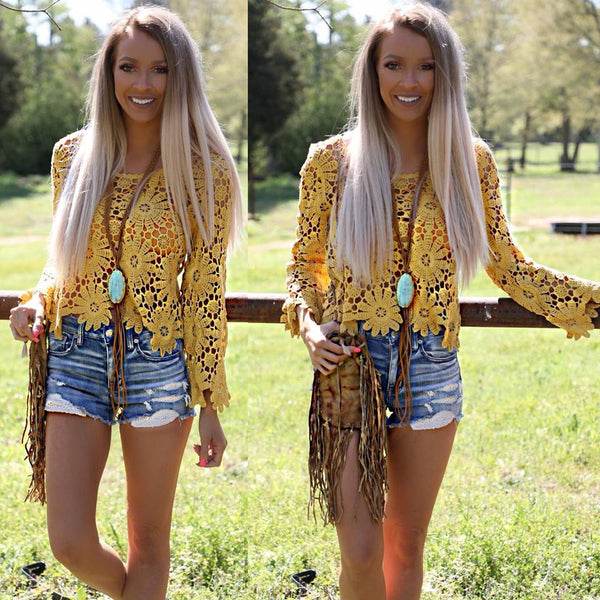 That 70's Mustard Crochet Top