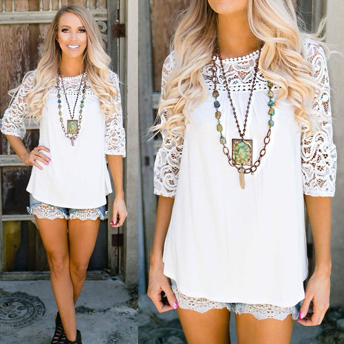 Pearl White Lace Sleeve Top