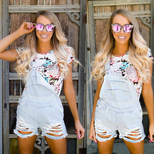 Blue Jean Baby Distressed Lightwash Overalls