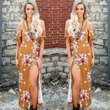 Marion Mustard Off Shoulder Floral Dress