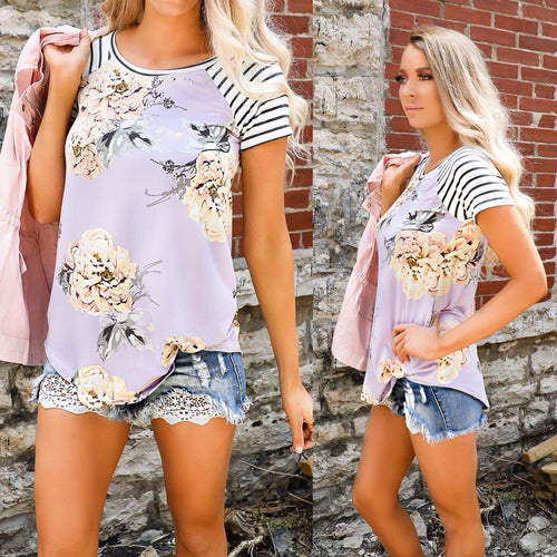 Floral Periwinkle and Stripes Tee
