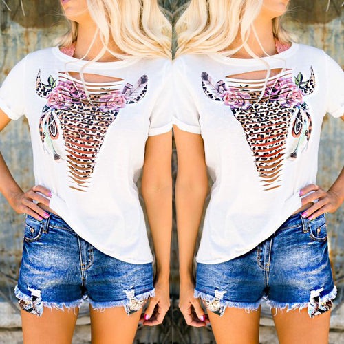 Leopard Cut Out Steer Top