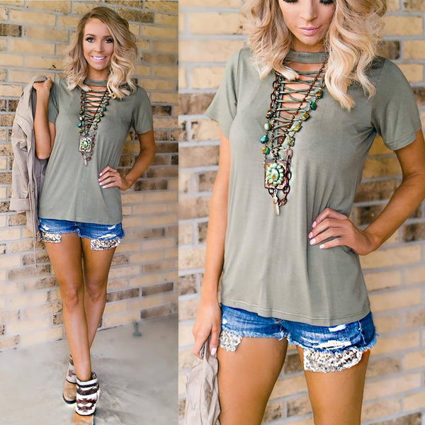 Moss Green Lace-up Choker Tee
