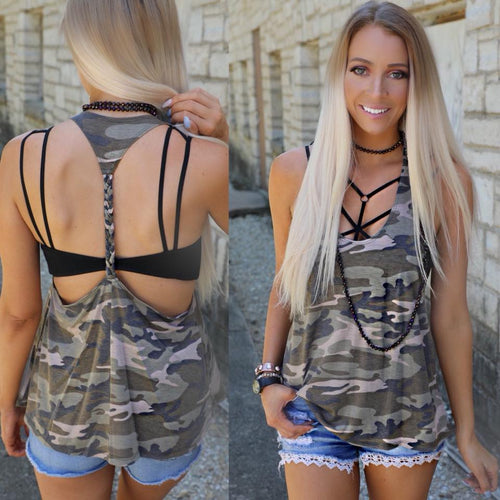 Camo Braided T-Back Tank Top - The Lace Cactus