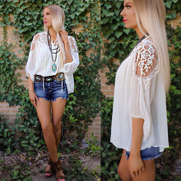 Carly Cream Sheer Shoulder Floral Tunic