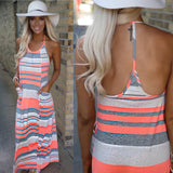 Coral and Grey Striped Maxi Dress