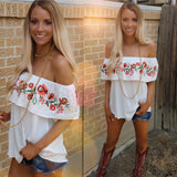 Mississippi White Embroidered Off Shoulder Top