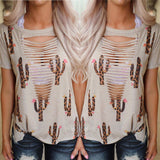 Taupe and Leopard Cactus Tattered Tee